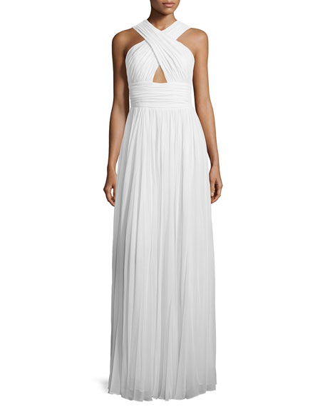 Michael Kors Collection Cross-Front Cutout Gown, Optic White