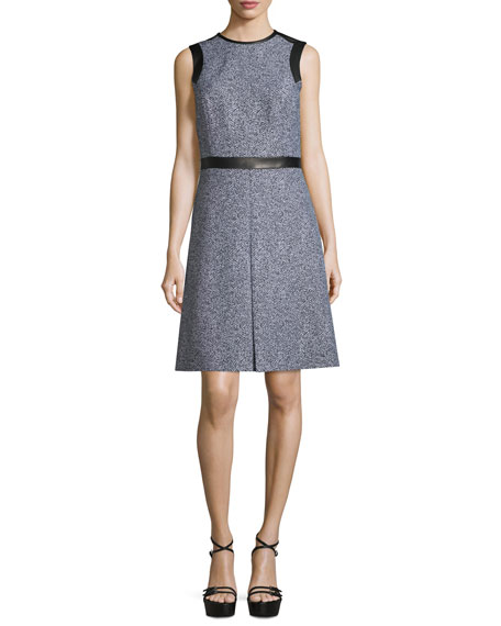 Michael Kors Collection Sleeveless Leather-Trim A-Line Dress,