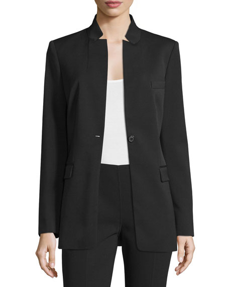 Michael Kors Collection Notch-Collar One-Button Jacket, Black