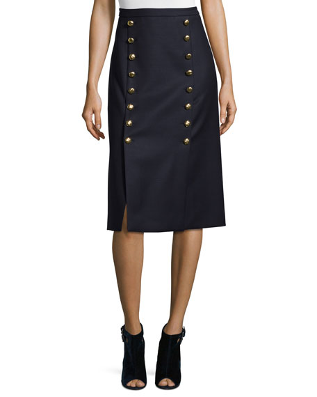 Michael Kors Collection Button-Front Mid-Rise Pencil Skirt, Navy