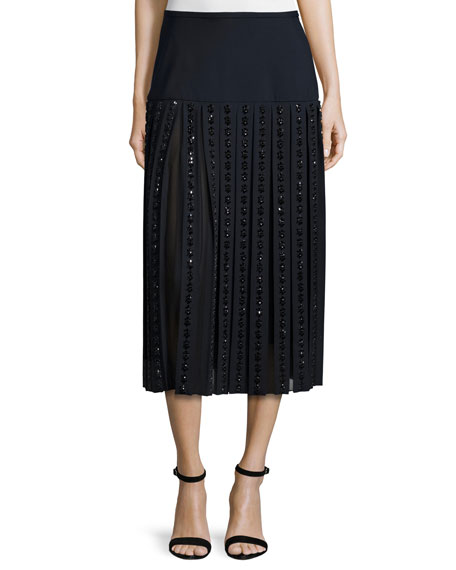 Michael Kors Collection Mid-Rise Embellished Midi Skirt, Navy