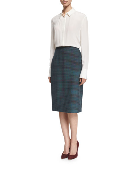 Michael Kors Collection High-Waist Gun Check Pencil Skirt, Slate/Peacock