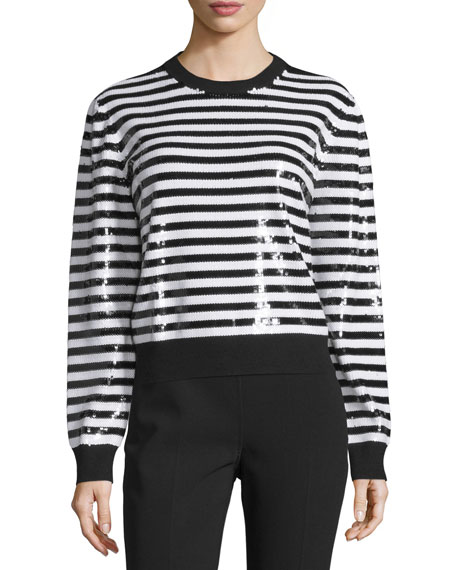 Michael Kors Collection Long-Sleeve Striped-Sequin Top, Black/White