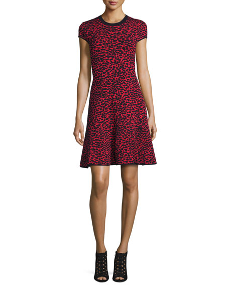 Michael Kors Collection Cap-Sleeve Fit-&-Flare Dress, Crimson/Multi