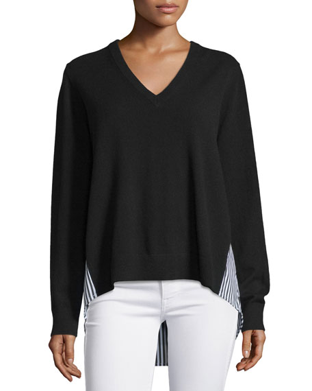 Michael Kors CollectionStriped-Inset Cashmere Sweater, Black