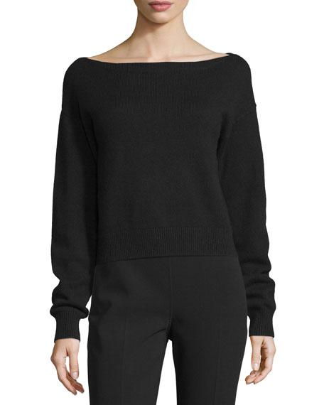 Michael Kors Collection Dropped-Shoulder Bateau-Neck Top, Black