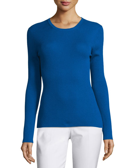 Michael Kors Collection Long-Sleeve Cashmere Top, Cobalt