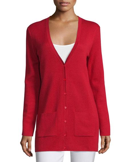 Michael Kors Collection Button-Front Long Cashmere Cardigan, Crimson