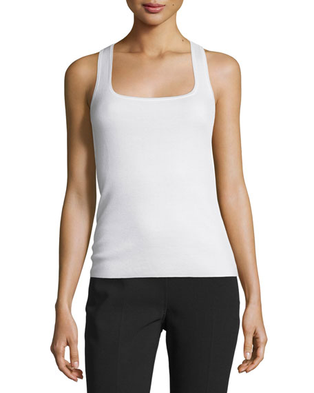 Michael Kors Collection Square-Neck Cashmere Shell, White