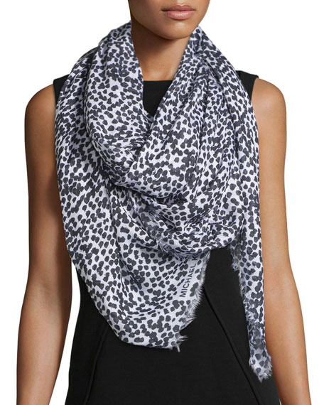 Michael Kors Collection Dot-Print Scarf, Optic White/Black