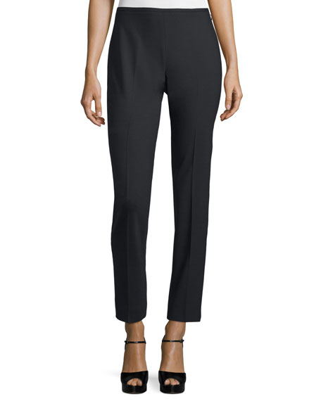 Michael Kors Collection Side-Zip Skinny Ankle Pants, Black