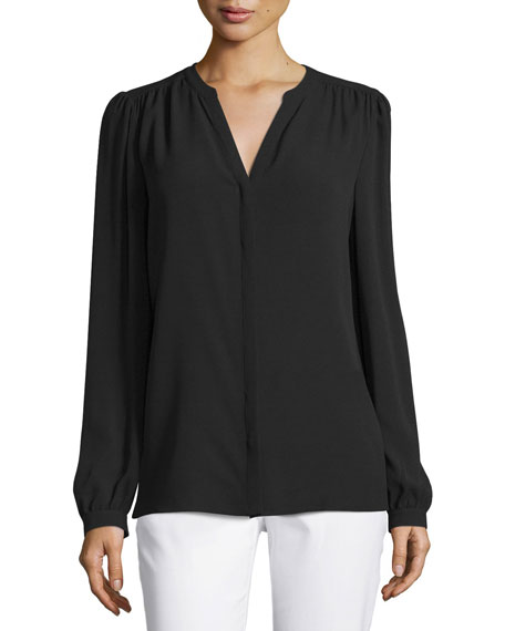 Michael Kors Collection Long-Sleeve Split-Neck Top, Black