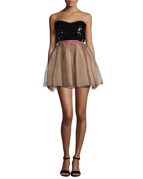 RED Valentino Strapless Sequined Tulle Combo Dress, Black/Nude