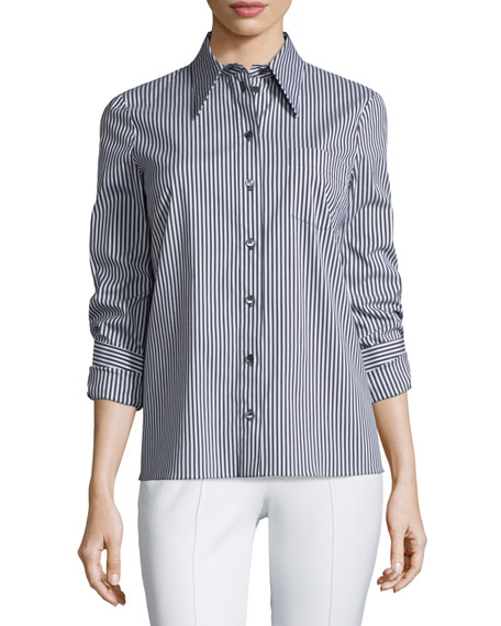 Michael Kors Collection Twisted-Cuff Button-Front Striped Top,