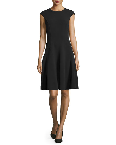 Michael Kors Collection Cap-Sleeve Fit-&-Flare Dress, Black