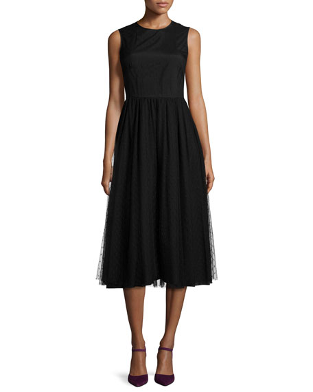 RED Valentino Sleeveless Swiss Dot A-Line Dress, Black
