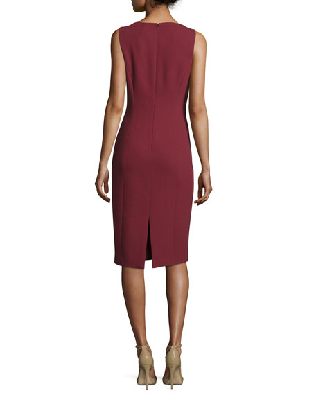 Sleeveless Sweetheart-Neck Sheath Dress, Claret