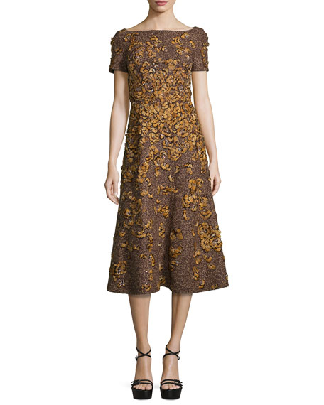 Michael Kors CollectionFeather Embellished Tweed Wool Dress,