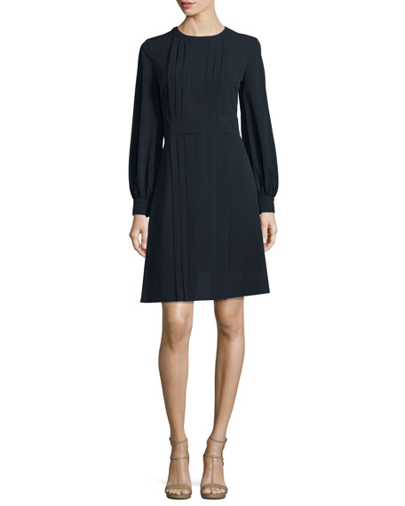 Michael Kors Collection Long-Sleeve Pleated-Front Dress, Navy