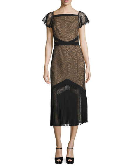 Michael Kors Cap-Sleeve Lace Midi Dress, Black