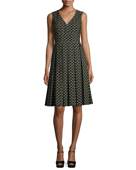 Michael Kors CollectionSleeveless Paisley-Print Dress, Navy/Multi