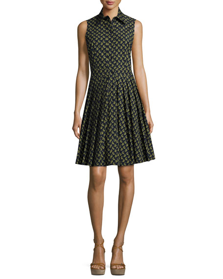 Michael Kors Collection Sleeveless Paisley-Print Shirtdress,