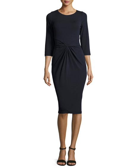 Michael Kors Collection 3/4-Sleeve Twist-Front Sheath Dress, Navy