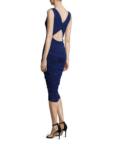 Enigma Cutout-Back Ruched Midi Dress, Blue Indigo
