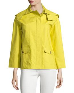 Bracelet-Sleeve Hooded Short Jacket, Mimosa