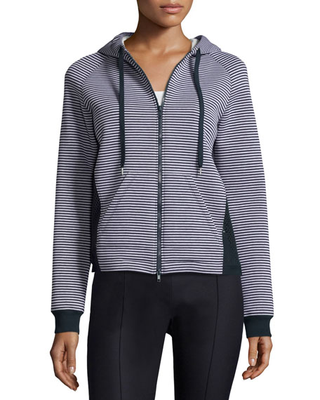 RED Valentino Zip-Front Hooded Striped Jacket, Bianco/Blu