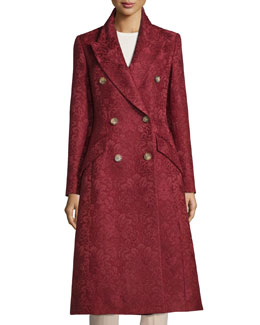 Double-Breasted Damask Trench Coat, Claret