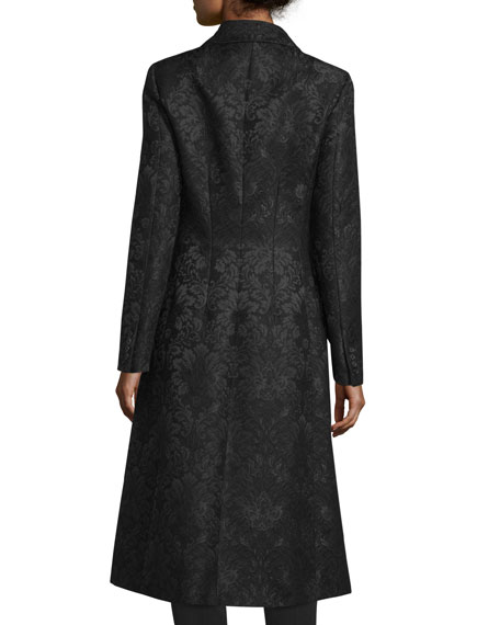 Double-Breasted Damask Trench Coat, Black