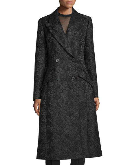 Michael Kors Collection Double-Breasted Damask Trench Coat, Black