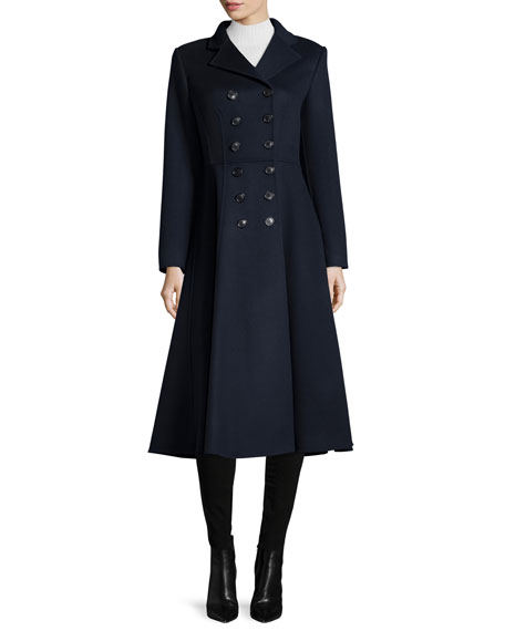 Michael Kors Collection Double-Breasted Melton Princess Coat,