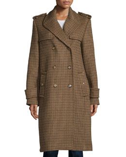 Double-Breasted Check Trench Coat, Barley/Chocolate