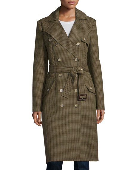 Michael Kors Collection Double-Breasted Mini Check Trench Coat,