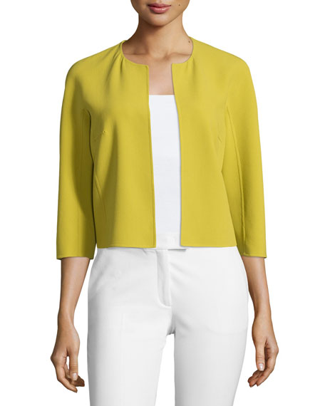 Michael Kors Collection 3/4-Sleeve Open-Front Jacket, Peridot