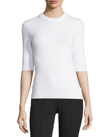 Michael Kors Collection Half-Sleeve Shaker Sweater, White
