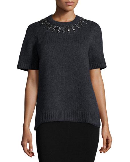 Michael Kors Collection Short-Sleeve Embellished-Neck Sweater,
