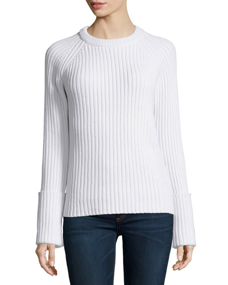 Michael Kors Collection Long-Sleeve Ribbed Sweater, White