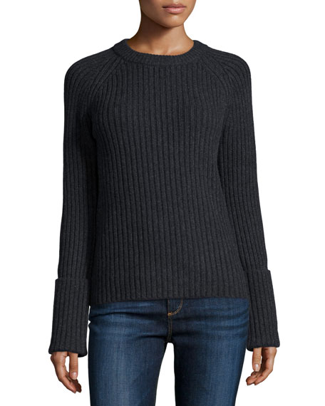 Michael Kors Collection Long-Sleeve Ribbed Sweater, Charcoal