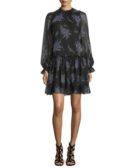 Michael Kors Collection Long-Sleeve Floral-Print Dress,
