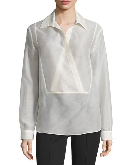 Michael Kors Long-Sleeve Wrap-Placket Blouse, Muslin