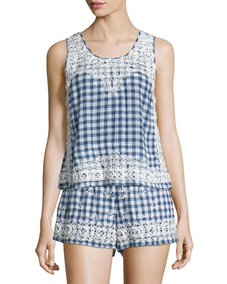 Yunes Embroidered Check-Print Top, Navy