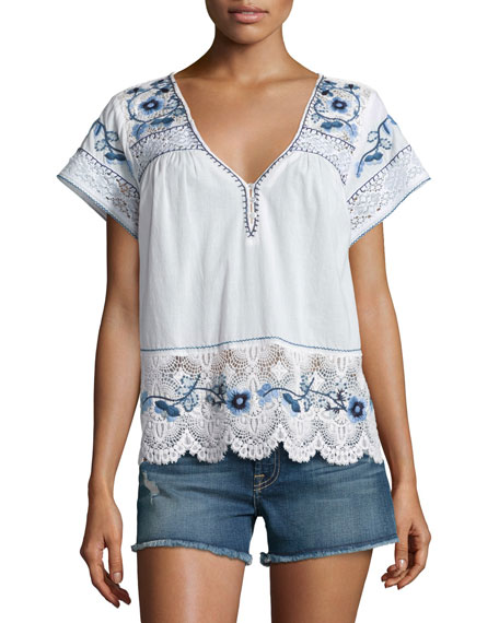 Calypso St Barth Kerala Lace-Inset Embroidered Top, White