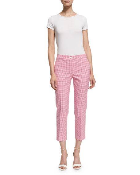 Michael Kors Collection Gingham Straight-Leg Cropped Pants, Geranium