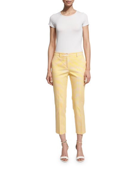 Michael Kors Collection Gingham Straight-Leg Cropped Pants,