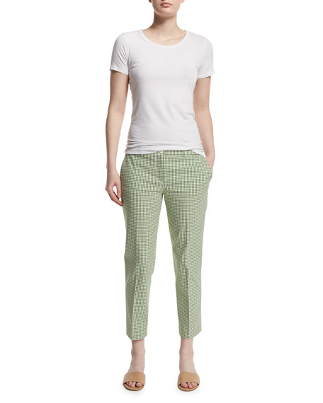 Michael Kors Collection Straight-Leg Gingham Cropped Pants, Lawn