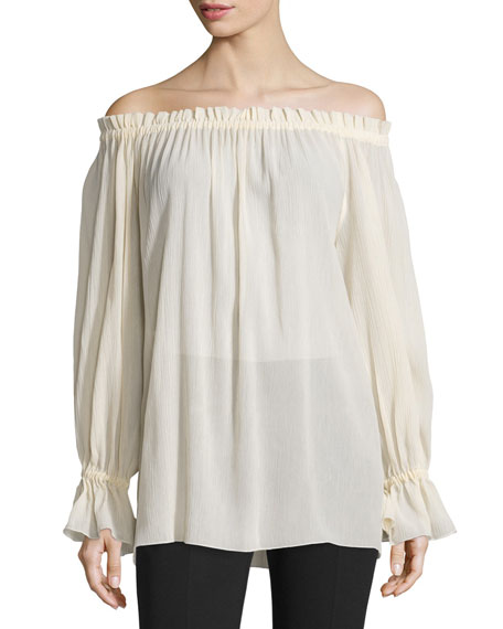 Michael Kors Collection Off-The-Shoulder Long-Sleeve Top, Muslin