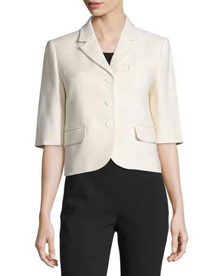 Michael Kors Half-Sleeve Button-Front Jacket, Muslin
